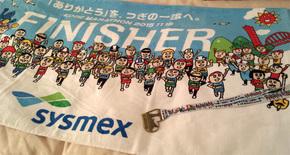 神戸マラソン2015完走記念品のメダルとタオル