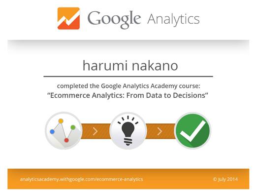 Ecommerce Analytics修了証