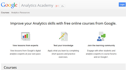 Google Analytics Academyのサイト